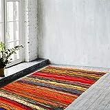 Zahra Handmade Chindi Area Rug- Hand Woven Multicolor Recycled Cotton Reversible Chindi Rag Rug (4'x6, Orange Chindi Rug)