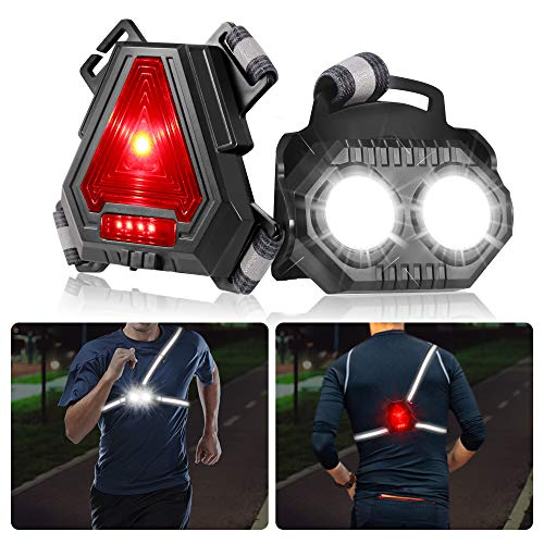B-right Night Running Lights for Runners, LED Chest Lights U SB Rechargeable Battery,Reflective Running Gear,90°Adjustable for Jogging,Dog Walking,Camping,Hiking