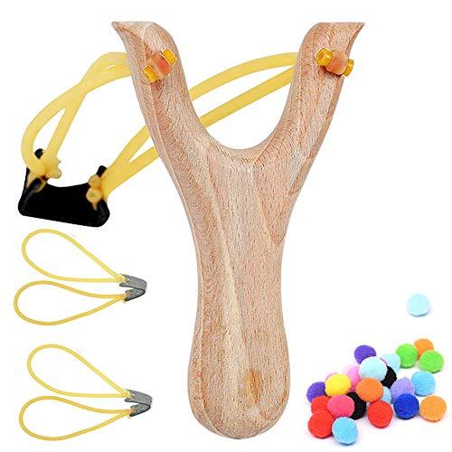 BESTZY Steinschleuder Zwille Schleuder aus Holz mit Tasche,2er Ersatzgummi + 100 Sorten Munition - Outdoor-Zwille für Sport,Jagd,Angeln und Baumpflege (Set)