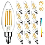 Light Bulbs 60W Equivalent, Megaman B10 E12 5W 2700K Dimmable Candelabra Led Bulbs for Ceiling Fan and Chandelier, 500Lumens, CRI85, Pack of 12