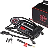 HEYNER PedalMax PRO Negro Edición Premium Doble bomba de pie cilindro 140PSI 10bar con conector de válvula tipo tornillo extra