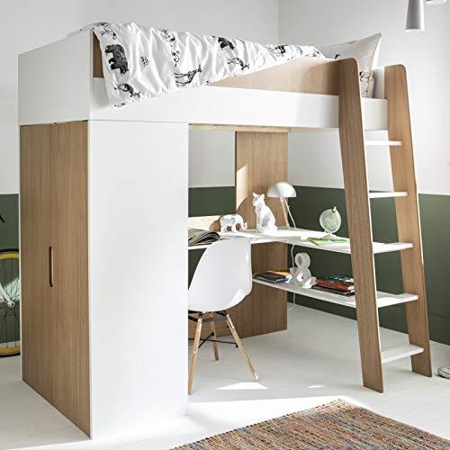 Alfred & Compagnie Hochbett Magnus 90 x 190 cm, Weiß / Holz