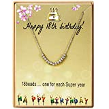 Happy 18 Year Old Gifts for Girls Stainless Steel Bead Necklace for 18 th Birthday Gift Adjustable Jewelry for Her