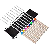 N\A Marshmallow Roasting Sticks 8 Pcs with Wooden Handle Extendable Barbecue Forks Smores Skewers...