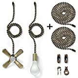 Bronze fan pull chain with 35.4 inches Extension, Kinghouse 2 pcs 13.6 inches 3.2mm Beaded Ball Fan Pull Chain Set including Beaded and Pull Loop Connectors, Holiday Gift Set (Oil Rubbed Bronze)