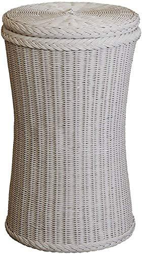 korb.outlet Runde Wäschetonne Rattan Weiss Wäschesammler rund mit Deckel Rattan Wäschekorb Farbe Weiß