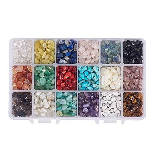 NBEADS 1 Caja de 18 Cuentas de Piedras Preciosas de 4-8 mm c