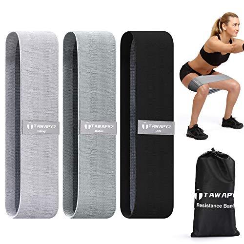 TAWAPYZ Elastici Fitness (Set di 3) Bande Elastiche Fitness, Set Fasce Elastiche Fitness in Tessuto, con 3 Livelli di Resistenza, Antiscivolo per Donne Esercizi Glutei, Crossfit, Yoga, Pilates, Gambe