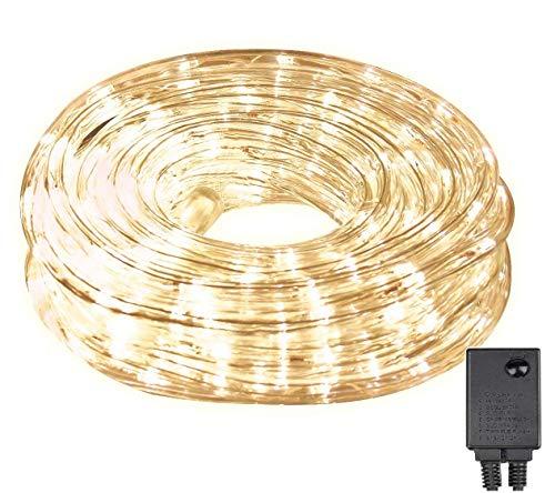 LED Stringa Luminosa 10M 240 Leds, Led Tubo di Luce con 8 Modalit, led Luce Decorativa Interno ed Esterno IP44 Impermeabile per Giardino, Balcone, Piscina, Natale, Matrimonio (Bianco caldo)