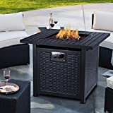 OKVAC 28' Propane Gas Fire Pit Table, 50,000 BTU Square Fire Bowl, Outdoor Auto-Ignition Fireplace...