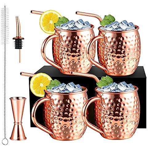 Moscow Mule - Juego de 4 vasos de cobre con 4 pajitas, juego