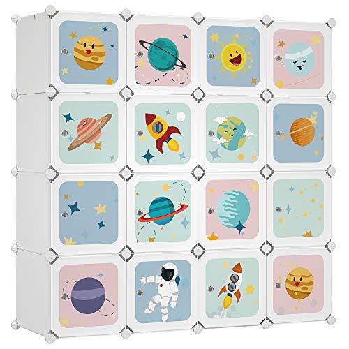 SONGMICS Armadio Modulare per Bambini, Guardaroba in Plastica, Organizzatore a 16 Scomparti, 4 Barre di Sospensione, 123 x 41 x 123 cm, Bianco LPC905W01