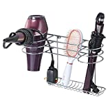 mDesign Bathroom Wall Mount Metal Hair Care & Styling Tool Organizer Storage Basket for Hair Dryer, Flat Iron, Curling Wand, Hair Straighteners, Brushes - Steel Wire - Chrome