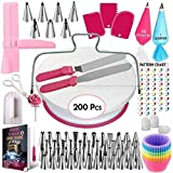 Cake Decorating Supplies 200 Pcs,Rotating Turntable Stand Baking Supplies Icing Spatula and Smoother Frosting and Pipings Bags Pastry Tools