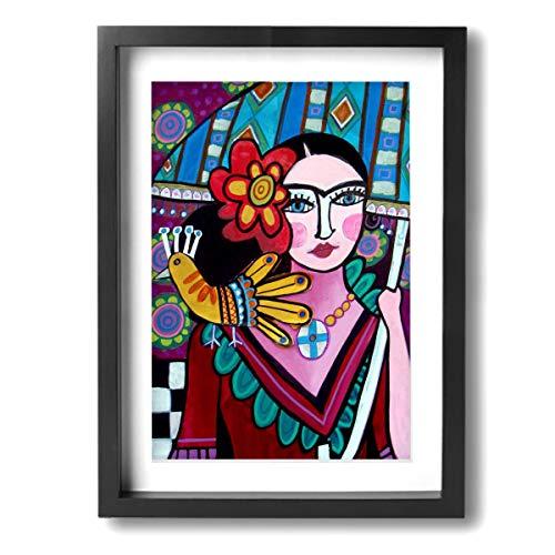 Pintura C Frida Kahlo Mexicana Folk Wall Art Prints On Canvas Framed Ready To Hang For Living Room Bedroom Bathroom 12x16 Inch, Madera, Negro, Talla única