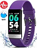 MorePro Fitness Tracker HRV,HD Color Screen Activity Tracker with Heart Rate Blood Pressure,Waterproof Health Watch,Sleep Monitor Pedometer Step Counter for Men Women Android iOS (Purple)