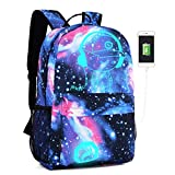 Lmeison Anime Luminous Backpack for Boys, Galaxy Bookbag with USB Charging Por and Lock &Pencil Case, 15.6'' Laptop Backpack for Girls, Travel Daypack Shoulder Bag for School
