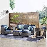 ovios Patio furnitue, Outdoor Furniture Sets, Modern Wicker Patio Furniture sectional and 2 Pillows, All Weather Garden Patio Sofa, Backyard, Steel (Grey-Denim Blue)