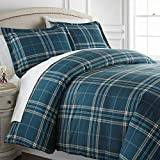 Vilano Plaid Collection - Premium Quality, All-Season Down Alternative Easy Case, Over-Sized 3-Piece Comforter Set, Full / Queen, Blue