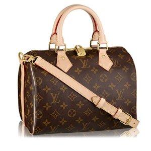 Louis Vuitton Monogram Crosss Body Leather Handles Canvas Handbag Speedy Bandouliere 25 Article: M41113 21