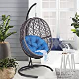 X-Large Luxury Outdoor Hanging Egg Chair with Stand, Heavy Duty Wicker Porch Swing Sets for Outdoor Patio Balcony Garden Decoration, All-Weather Egg-Shaped Hammock Swing Chair with Navy Blue Cushion