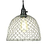 Primitive Chicken Wire Dome Pendant Light in Barn Roof Finish
