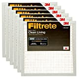Filtrete MPR 300 20x20x1 AC Furnace Air Filter, Clean Living Basic Dust, 6-Pack
