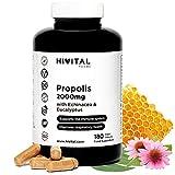 Propolis 2000 mg. 180 cápsulas veganas para 6 meses. Extractos de Propóleo con 10% Galangina,...