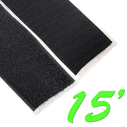 Electriduct 2' Adhesive Backed Hook & Loop Sticky Back Tape Fabric Fastener - 15 Feet