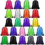 FEPITO 22 Pack Drawstring Bags String Backpack Bulk Tote Sack Cinch Bag Sport Bags for School Gym Traveling