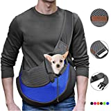 YUDODO Pet Dog Sling Carrier Breathable Mesh Travel Safe Sling Bag Carrier for Dogs Cats (M up to 10lbs Blue)