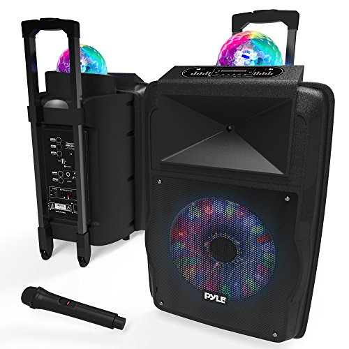 Portable DJ Karaoke PA Speaker - Outdoor 700 Watt Stereo 12 Subwoofer Built-in LED Lights Wireless Bluetooth Rechargeable Battery Audio Recording Mode & MP3/USB/Micro SD/FM Radio - Pyle PSUFM1280B