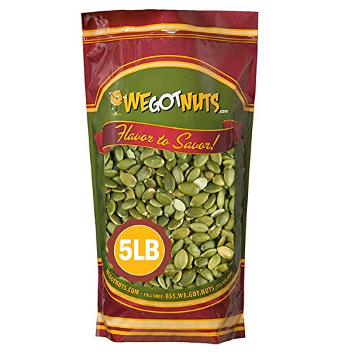 We Got Nuts Pumpkin Seeds Healthy Snacks 5Lbs (80oz) Bag | Raw Pepitas No Preservatives Added, Non-GMO, NO PPO, 100% Natural With No Shell | For Baking, Salad Toppings, Cereal, Roasting | Low Calorie Nuts,