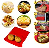 (3 Pack )Microwave Potato Bag, Corn, Day-old bread, Tortillas Cooker Bag, Washable and Reusable, Red