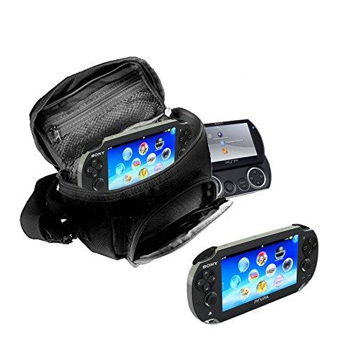 Orzly® - Funda para Sony PSP (GO/VITA/1000/2000/3000) - Funda para Consola, Juegos y Accessarios Bolso Incluye: Correa para el Hombro Ajustable + Llevan la Manija + Fijación a un Cinturón - Negro