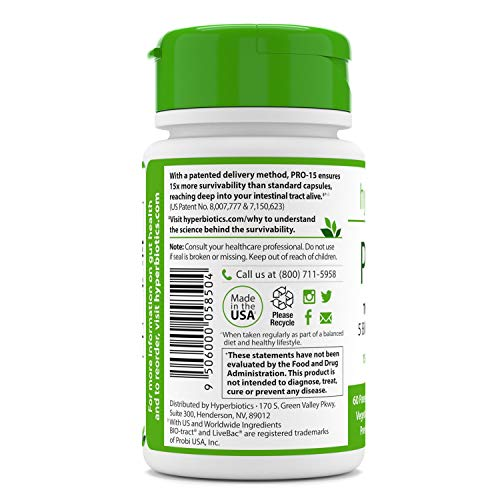 Hyperbiotics PRO-15 Probiotics—60 Daily Time Release Pearls— Digestive Supplement Formula—15x More Survivability Than Capsules—Patented Delivery Technology—Easy to Swallow 3
