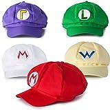 Super Mario Kart Hats: Mario, Luigi, Wario, Waluigi and Fire Mario Caps for Halloween Costumes: Unisex Cosplay (5 Pack)