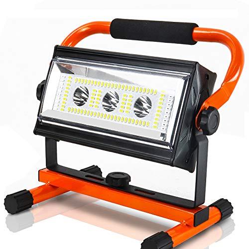 Baustrahler, Orthland Led Baustrahler Akku 80W mit USB Ausgang-Ports, Arbeitsleuchte mit 6 Dimmstufen(300 bis 4800 Lumen), Bauscheinwerfer Led für Hof Garten Garage, Außen Beleuchtung für Camping