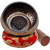 Rovtop Cuenco Tibetano a Mano para la Meditación Chakra Healing, Oración, Yoga, Budismo y Sanación a través de la Vibración Cuenco, Incluye un Cojín y la Baqueta (Rojo)