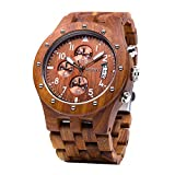NATURAL WOOD WATCH: Unlike ordinary mens stainless steel chronograph watches, these wood wristwatches adopt old classic fine natural red sandalwood as material to make sure an excellent wearing experience. The warm wood watch band and case matches yo...