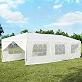 Tangkula 10' x 30' Outdoor Waterproof Gazebo Canopy w/ 6 Removable Sidewalls and 2 Doorways, Heavy Duty Large Tent w/Strong Connection Stakes Ropes for Party Wedding Events Beach BBQ (White)