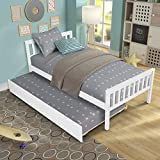 Twin Platform Bed with Trundle, Solid Wood Bed Frame with Headboard, Footboard for Teens Boys Girls,No Box Spring Needed (White)