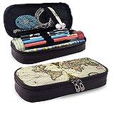 WU4FAAR - Estuche para lápices de piel, diseño de mapa del mundo, con cremallera, bolsa de papelería, bolsa con cremallera