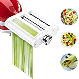 Pasta Maker Attachment for KitchenAid Stand Mixers 3 in 1 Set Includes Pasta Roller Spaghetti Cutter & Fettuccine Cutter, Pasta Attachment for KitchenAid and Cleaning Brush By Jovan Home