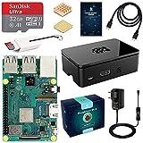 LABISTS Raspberry Pi 3 B+ Starter Kit con Micro SD de 32GB Clase 10, 5V 3A Adaptador de Corriente con Interruptor, 2 Radiadores, Cable HDMI, Lector de Tarjetas, Caja Negra