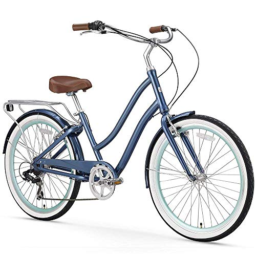 sixthreezero EVRYjourney Women's 7-Speed Step-Through Hybrid Cruiser Bicycle, 26' Wheels and 17.5' Frame, Navy with Brown Seat and Grips (630035)