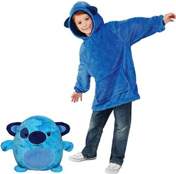 Blanket Sweatshirt - Huggle Pets Hoodie, Plush Animals Turn into Oversized Hooded Sweatshirt with Giant Pocket, Pullover Jumper Bathrobe Pajama Pillow One Size Fits All (Blue Puppy)