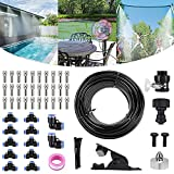 Bearbro Misting Cooling System for Patio,59FT (18M) Misting Line DIY Outdoor Mist Cooling Kit +24 Copper Metal Mist Nozzles +20 Tube Ties + a Connector(3/4') Great for Patio Garden Greenhouse