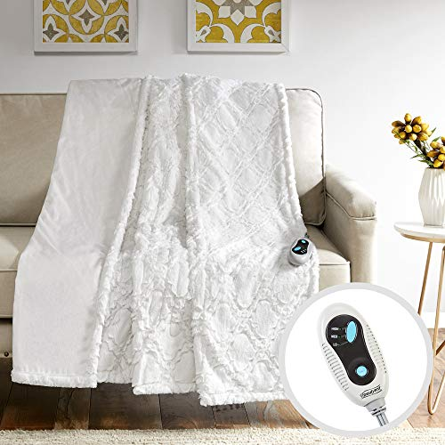 """Beautyrest - Heated Brushed Long Fur Throw - Ogee Pattern - 50"""" x 60"""" - Ivory - with 3-Setting Heat Controller"""