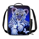 KiuLoam Cute White Tiger Butterfly Kids Small Lunch Box Children's Insulated Lunch Bag with Zipper Shoulder Strap Cooler Lunch Tote for Boys Girl Preschool Office Picnic